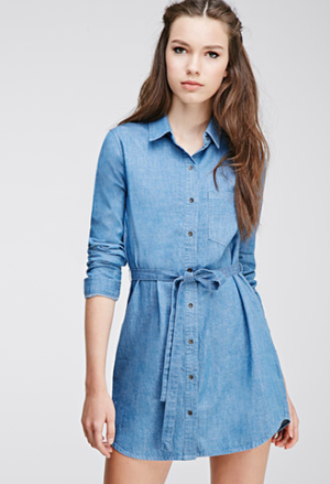 Buttoned-Denim-Shirt-Dress