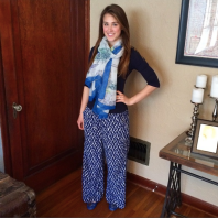 Blue Patterned Pants